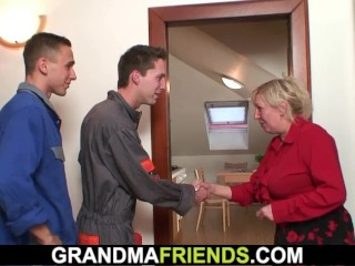 grandmafriends;old;big;boobs;3some;mother;threesome;mature;granny;grandma,Big Tits;Mature;Reality;Threesome Two repairmen fuck big tits grandma