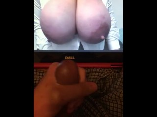 cum;tribute;cum,Big Tits;Brunette;Cumshot;Masturbation;MILF;Solo Male Hilari cum tribute (First cum tribute)