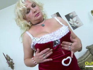 oldnanny;old;mom;mature;granny;blonde;solo;striptease;teasing;masturbate,Blonde;Masturbation;Mature;Striptease OldNannY Mature Blonde Seductive Solo...