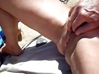 Amateur;Fingering;Public Nudity;Cuckold;Outdoor;Nudist;Vibrator;Threesome cuck films wife getting fingered on...