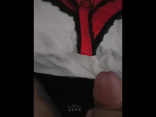 youporn;brazzer,Amateur;Big Dick;Fetish;Solo Male;Arab Cum on wife's red panties