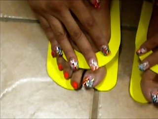 Black and Ebony;MILFs;Foot Fetish;Footjob;Pedicure;Orange;American;India;MILF Toes MILF India Orange Pedicure Toes