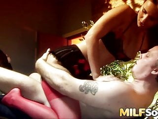Anal;Blowjob;Cumshot;Hardcore;MILF;HD Videos;Ass Licking;Eating Pussy;Threesome Anal Threesome with Two Beautiful MILFs