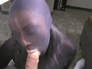 nylon;mask;ebony,Blowjob;Cumshot;MILF Ebony Nylon Mask Blowjob