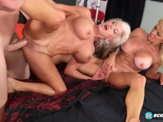 3some;old,Mature;Threesome Two older ladies come off on a dick