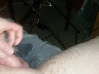 stroking;cock;watching;porn,Amateur;Blonde;Handjob;Masturbation;Mature;POV;Solo Male First public vid of me jerking it