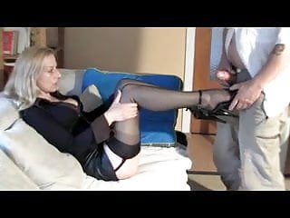 Blonde;Stockings;Foot Fetish;Lingerie;Skinny;Slave sexy milf likes you to cum on her...