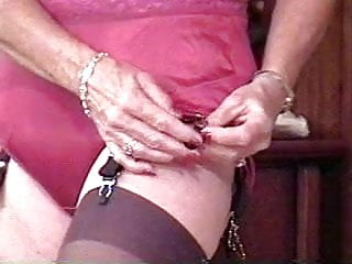 Stockings;MILF;Granny;Lingerie;Nylon;Striptease Blast from the past Pattie - burgundy...